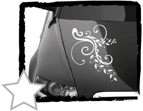 DD Dotzler Design Tuning V1 Blumenranke Floral Aufkleber für Motorhaube Heckscheibe Autoaufkleber (34 x 24 cm Weiss)