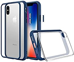 RhinoShield Modular Case for iPhone Xs Max [Mod NX] | Customizable Shock Absorbent Heavy Duty Protective Cover - Compatible w/Wireless Charging & Lenses - Shockproof Royal Blue Bumper w/Clear Back