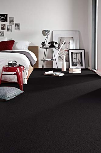 rugsx Einfarbiger Teppich Trendy für Zimmer, Wohnzimmer, Schlafzimmer, Teppichboden Auslegware, schwarz, Verschiedene Größen, 400x600 cm