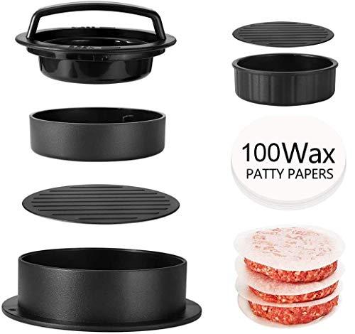 YFOX Máquina para asar hamburguesas de hamburguesas 3 en 1 antiadherente (con 100 papel de cera), herramienta de cocina para hacer hamburguesas y fácil de usar, limpia y fácil de recoger (negro)