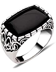 925k Silver Men Ring with Black Zircon