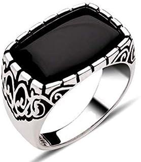 خاتم رجالي من الفضة صناعة يدوية عيار 925 مع زركون اسود