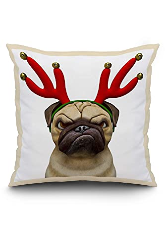 N\A Funny Cartoon of a Grumpy Pug Dog Wearing Christmas Reindeer Antlers 9019035 (Spun Polyester Pillow, White Border)