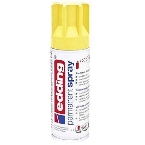 edding 5200 Permanent-Spray - verkehrs-gelb matt - 200 ml - Acryllack zum Lackieren und Dekorieren von Glas, Metall, Holz, Keramik, lackierb. Kunststoff, Leinwand, u. v. m. - Sprühfarbe