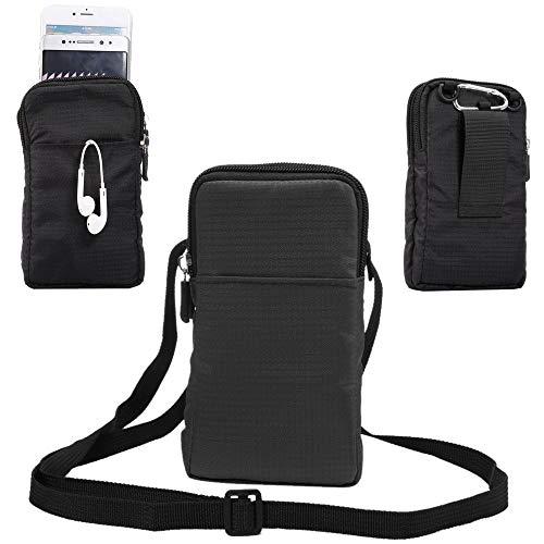 jbTec Handytasche zum Umhängen 180x110x35mm Nylon klein - Gürteltasche Handy Umhängetasche Gürtel Tasche Hüfttasche Case, Farbe:Schwarz