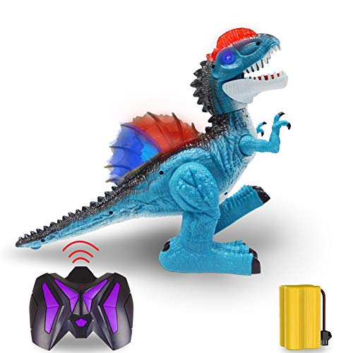 2.4G RC Dinosaur for Kids Boys Girls, 8 Channels Electronic Remote Control Toys Educational Walking Tyrannosaurus Rex with Lights & Sounds,Powered by Rechargeable Battery, 360° Rotation StuntBlue