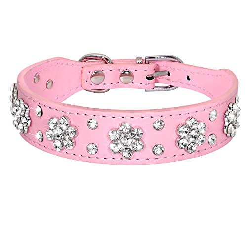 Didog - Cute PU Leather Dog Collar - Rhinestone Flower Pattern Studded - 1 Inch Width Fit Small and Medium Dogs,Pink 12-15'
