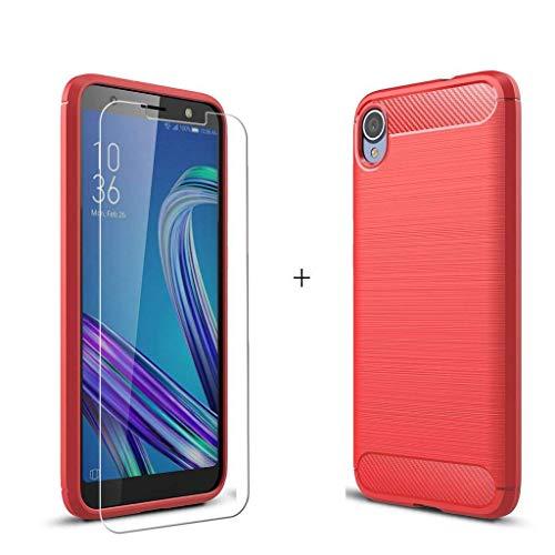 """QFSM ASUS Zenfone Live (L1) ZA550KL Coque Rouge Fibre de Carbone + Film Protecteur Verre trempé Écran Protecteur HD - Souple Silicone Étui Carbon Fiber Housse TPU Case Cover pour (5.5"""")"""
