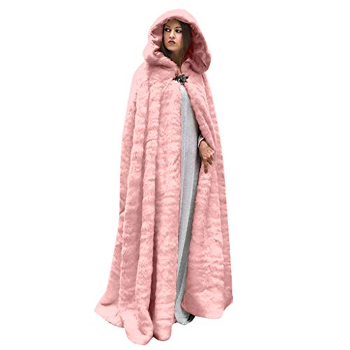 SALUCIA Damen Pelzmantel Bodenlanges Warme Kunstpelz Umhang Mantel mit Kapuze Flauschige Fellmantel Nerzmantel Parka Jacke Wintermantel
