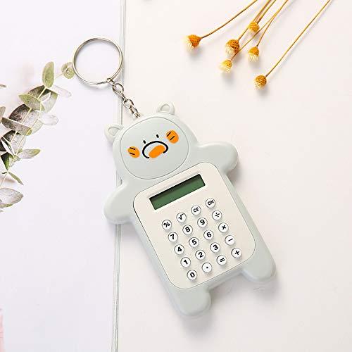 Decdeal Portable Cute Cartoon Calculator Mini Bear Calculator 8 Digits Display with Keychain Button Battery Pocket Size Calculator for Students Children Office School Supplies