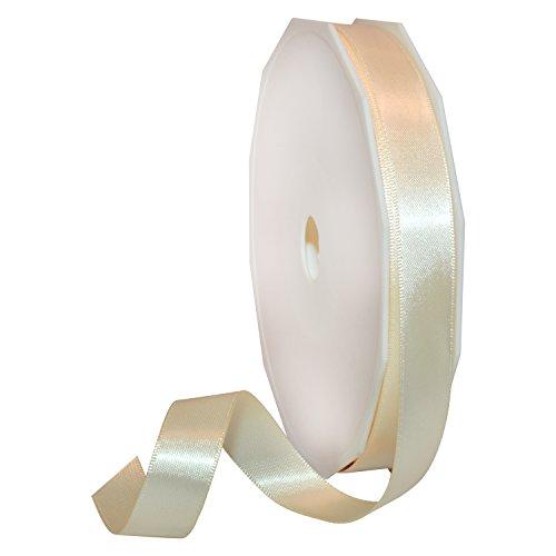 Morex Ribbon Double Face Satin Ribbon, 5/8' x 50 Yd, Ivory