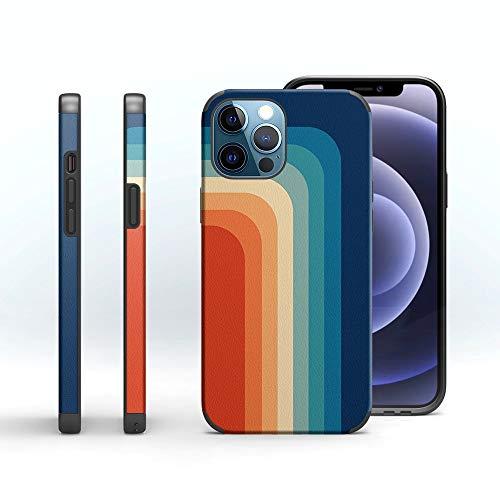 Custodia protettiva per iPhone 12 Pro Max con design retrò (6,7 pollici), cover per telefono flessibile e colorata, sottile e antiurto, morbida TPU (motivo arcobaleno vintage)