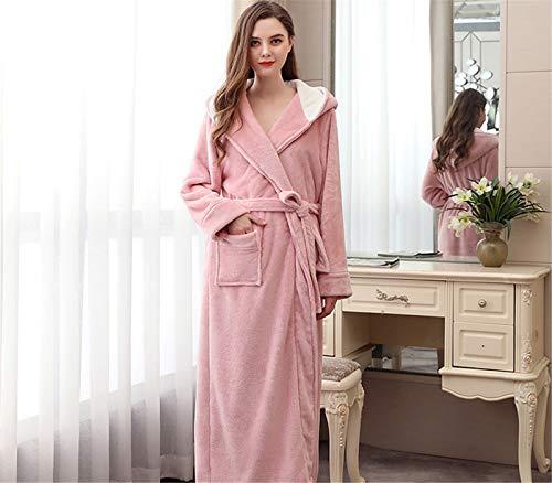 Lange Kapuze Robe für Frauen Luxuriöser Flanell Ganzkörperansicht Bademantel...