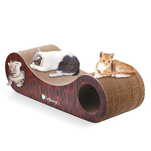 isYoung Large Cat Scratcher Lounge, 30.5 x 11 x 8.5 inchs Unique Cat Scratcher Cardboard Scratch Pad with Built-in Toy Bell