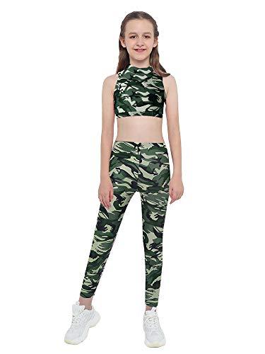 Kaerm Kinder Mädchen Camouflage Jogginganzug Jogging Army Trainingsanzug MILITÄR TARN Jogging Fitness Yoga Sportanzug Sport BH MIT Hose Set Gr. 98-176 Camouflage Grün B 98-104