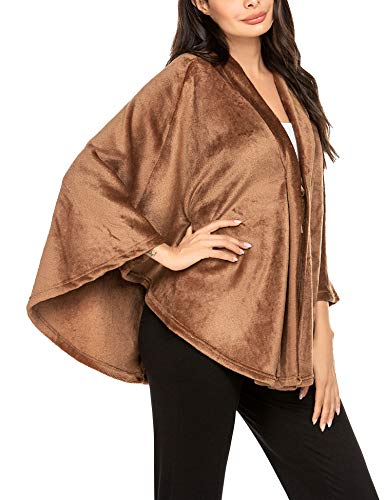 MAXMODA Winter Poncho Damen Vintage Elegant Warm Fleece Open Front Cape Wrap Flanell Faux