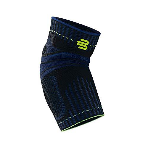 Bauerfeind Unisex Ellenbogen-Sportbandage, für Ball- und Rückschlagsportarten, Stabilität am Ellenbogengelenk, Silikonring, Gr. S, schwarz, 1 Stück