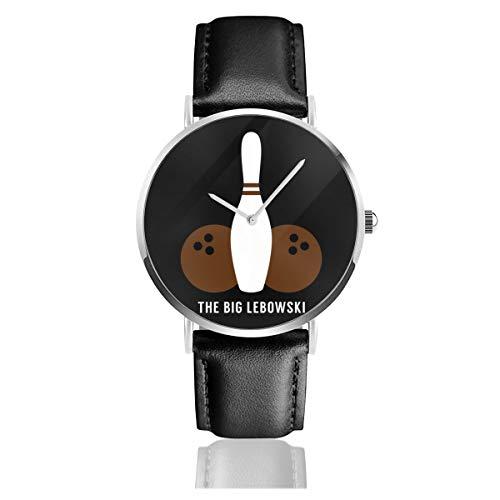 Unisex Business Casual Big Lebowski Bowling Minimal Uhren Quarz Leder Armbanduhr mit schwarzem Lederband für Männer Frauen Junge Kollektion Geschenk