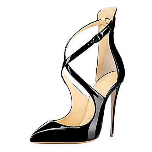 Damen Spitze Zehen Sandalen Lack High-Heels Stiletto Criss Cross Hochzeit Party Glas Schwarz EU46