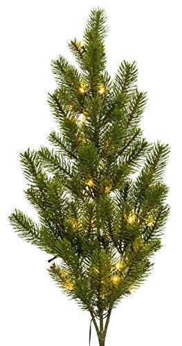 künstlicher Tannenzweig Spritzguß Kunstpflanze Dekopflanze Lichterkette Weihnachten Tannenbund 85 cm beleuchtet 40 LED Tanne Zweig grün 3017736-00 G5