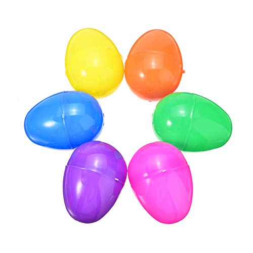12Pcs Plastic Eggs,2.4X1.5 Inch Halloween Easter Eggs with 6 Different Colors,Use for Making Easter Gifts Decorations or Easter Egg for Children
