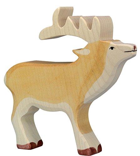 cama24com Hirsch Holzfigur Holzspielzeug von Holztiger mit Palandi® Sticker