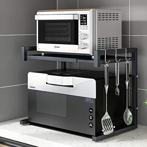 Pusdon Extendable Microwave Oven Rack, Heavy Duty Adjustable Microwave/ Toaster Shelf(L15.7~23.6'...