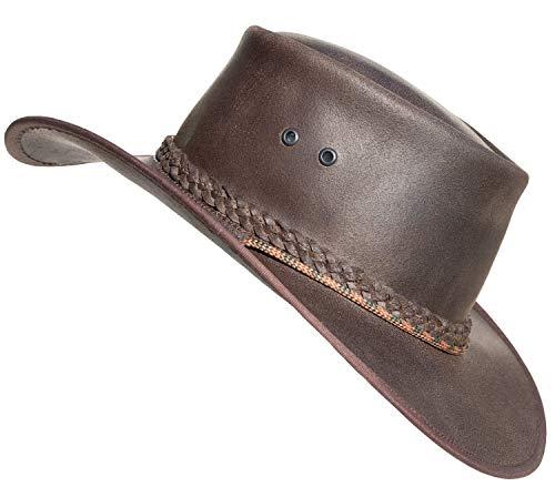 Leather Hats Sombreros de vaquero premium estilo Outback hechos a mano en Sudáfrica, marrón oscuro