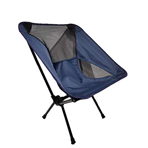 Outdoor Ultralight Portable Folding Chairs with Carry Bag Capacity Camping Beach Moon Chair travel Fishing seat Side (Dark Blue)