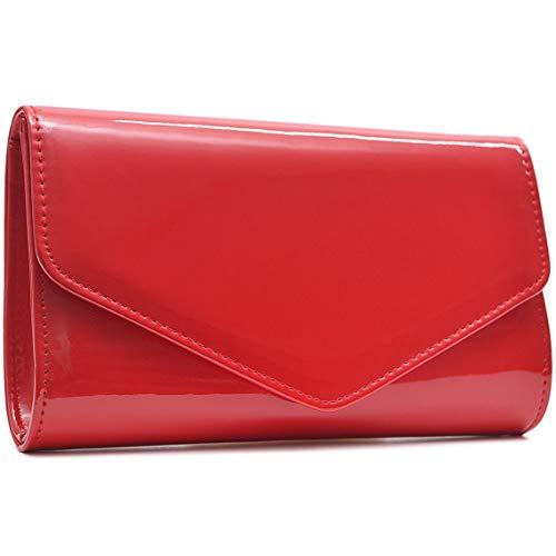 Vain Secrets Damen Abendtasche Clutch in Lack Leder Look in vielen Farben (24 cm Lang - 14 cm Hoch - 5 cm Breit, Rot)