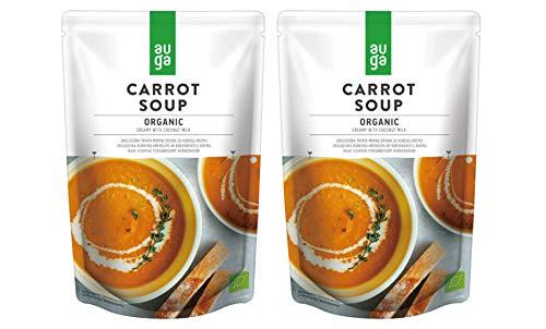 無添加 AUGA キャロットスープ 400g×2個 ★ コンパクト ★ココナッツミルクを使った濃厚で甘みのあるニンジンポタージュ。ヨーロッパの大地で採れたオーガニック野菜を使用しています。飽きのこない、くせになる味わいです。