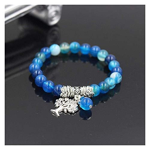 Pulsera de piedra, mujer, 7 chakra, abalorios azules de ágata azules, brazalete elástico, árbol, de vida, colgante, joyería, redando, yoga, meditación, energía, energía, encanto Pulsera de chakra