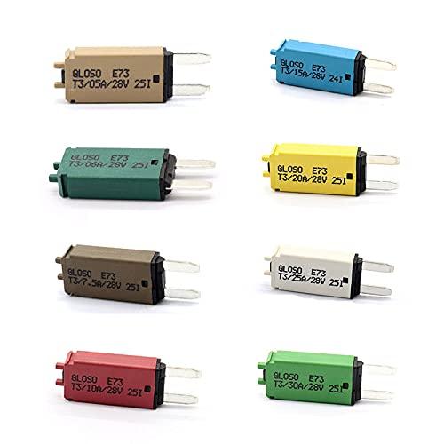 AIHOUSE 12 / 24V DC Restablecimiento Manual Mini ATM Blade Style Breakers Circuit Interruptor Circuit Protector de Circuito para Barco Marino Carro de Carro,8pcs