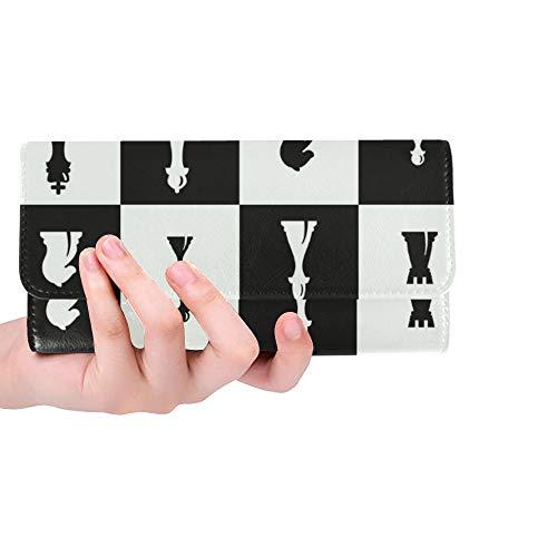 Piezas de ajedrez Personalizadas únicas Su diseño Cartera Triple Monedero Largo Titular de la Tarjeta de crédito Estuche Bolso
