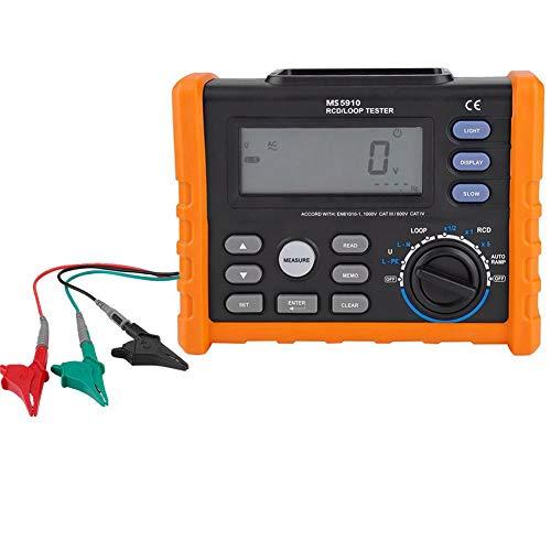 ASHATA RCD-Tester MS5910 Leckschaltertester Digitales Widerstandsmessgerät RCD-Schleifenwiderstandstester Multimeter Auslösestrom / -Zeit Berührungsspannungsdetektor AC 0V-440V