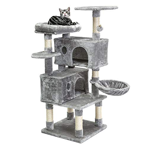 SUPERJARE Cat Tree Condo Furniture with Scratching Posts, Plush Cozy Perch and Dangling Balls, Multi-Level Kitten Tower - Gray
