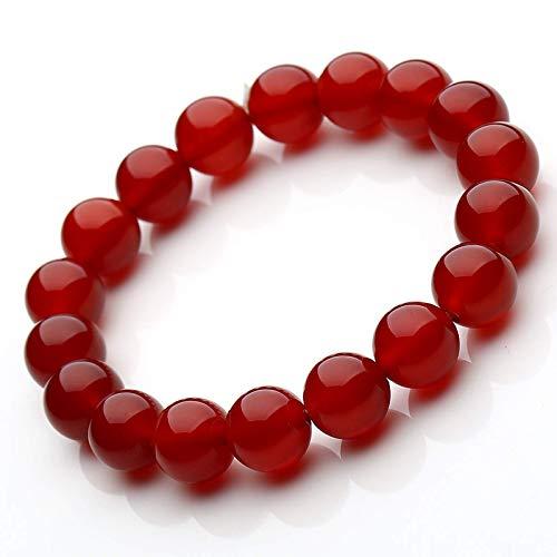 Hcrkvn Pulsera de Cristal de ágata roja Sangre. Pulsera de joyería de Buena Suerte de Verano