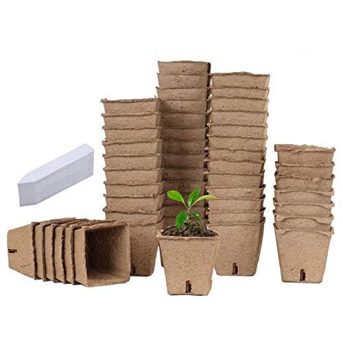 Semilleros De Germinacion Biodegradables, Germinador De Semillas, Semilleros Huerto Invernadero Pequeño Bandejas para Semilleros Terraza Set Jardineria (A-Cuadrado, 50pc)