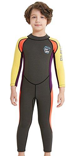 FMDD Niños Traje de Neopreno 2.5mm Joven una Pieza Inmersión Trajes de Manga Larga Neopreno Traje de Buceo Cálido Postura para Bañador para Deportes acuáticos, Gris, Extra-Large