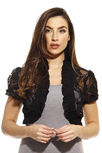 2502-Blk-3X Just Love Plus Size Shrug / Women Cardigan,Black With Lace,3X