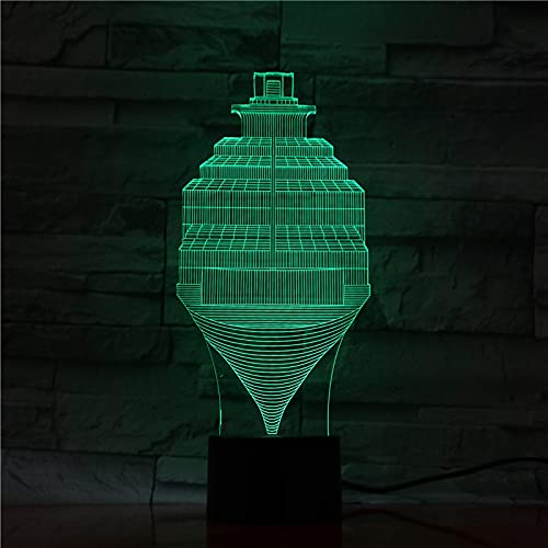 AOXULIU Luz de noche Luz De Noche Pequeña 3D Control Táctil Con Forma De Giroscopio 7 Colores Táctiles Lámpara Led 3D Para Niños Pequeños Accesorios De Iluminación Led Decorativos Base Blanca