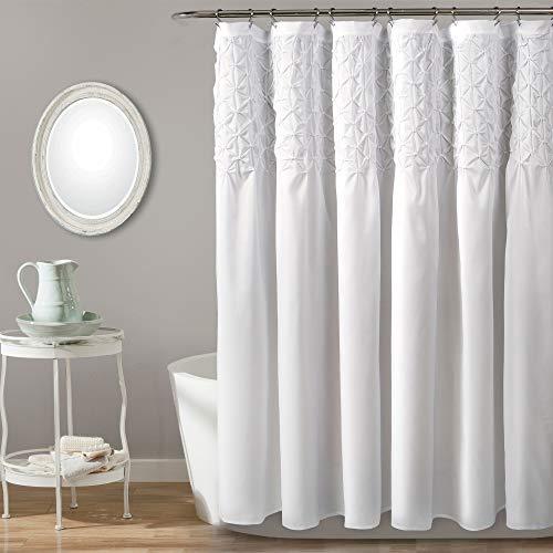 "Textures Shower Curtain Diamond Pintuck, Bright White Pintucks Frilly Fabric Bathtub Curtain, 3D Diamonds Embroidery Pattern Ruffled Design Feminine Frills Bathroom Cloth Decor, 72"" x 72"" Polyester"
