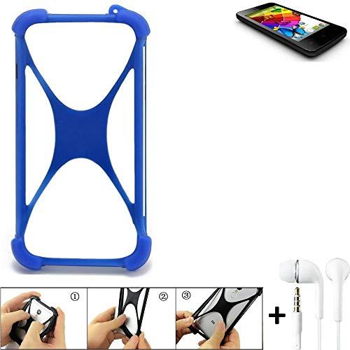 K-S-Trade® Handyhülle Für Mobistel Cynus E4 Bumper Schutzhülle Silikon Schutz Hülle Cover Case Silikoncase Silikonbumper TPU Softcase Smartphone, Blau (1x), Headphones