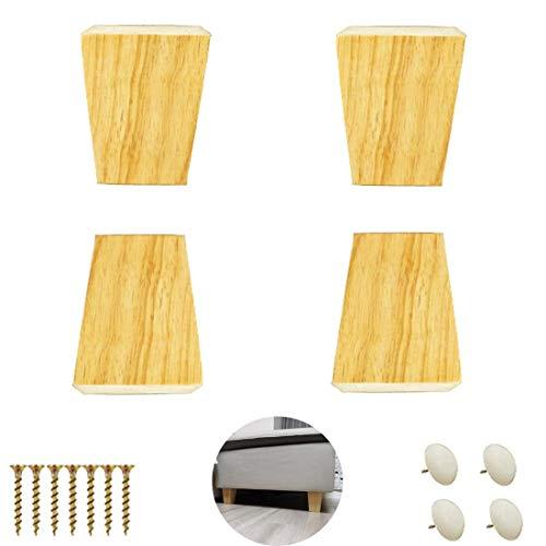 FHKBB Packung mit 4 Massivholzmöbeln, Stützbeinen, Küchenschrankfüßen, Trapez-Eichen-Sofabeinen, hölzernen Couchtisch-Ersatzbeinen für Stuhlbett-Riser-Couchschrank, mit Schrauben, Holzfa