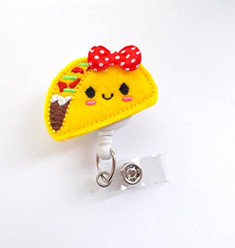 Tracy The Taco - ID Felt Badge Holder - Cinco De Mayo Badge Reel - Nurses Badge Holder - Food Badge Reel - Dietitian Badge - RN - Humorous Badge Clip - Taco Tuesday