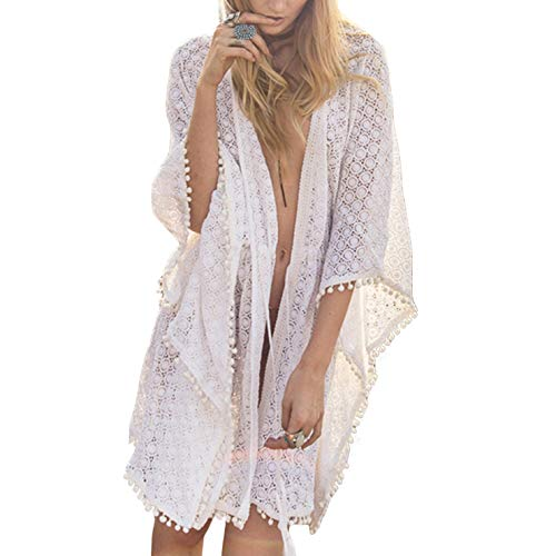 Ai.Moichien Femmes Bohemian Beach Wear Bikini Cover Up Summer Holiday Lace Kimono Cardigan White One Size