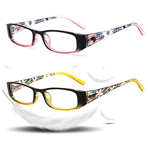 VVDQELLA Blue Light Blocking Brille Frauen UV-Schutz Federscharniere Computer Lesebrille 1,0, Schlaf besser (2 Paar)