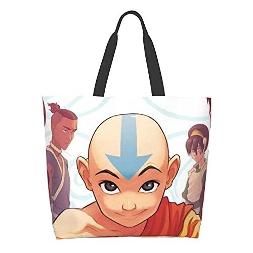 Avatar Last Airbender - Bolsa de hombro para mujer, gran capacidad para compras, escuela, trabajo, bolsa de almacenamiento de comestibles