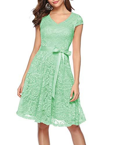 BeryLove Damen V-Ausschnitt Kurz Brautjungfer Kleid Cocktail Party Floral Kleid BLP7006MintM