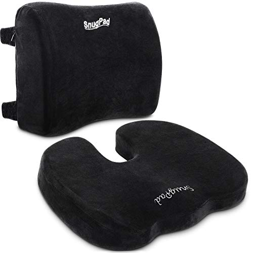SnugPad Memory Foam Lumbar Pillow and Seat Cushion Combo, Ergonomic, Lower Back and Coccyx Support, Premium Washable Velvet Covers with Non-Slip Bottom, Ideal for Office Chairs and Car Seats (Black)
